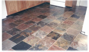 Unique and Colorful Slate Tile Flooring. Image courtesy of cleanprous.com.