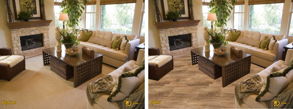 Dzine application of porcelain, wood-look tile.