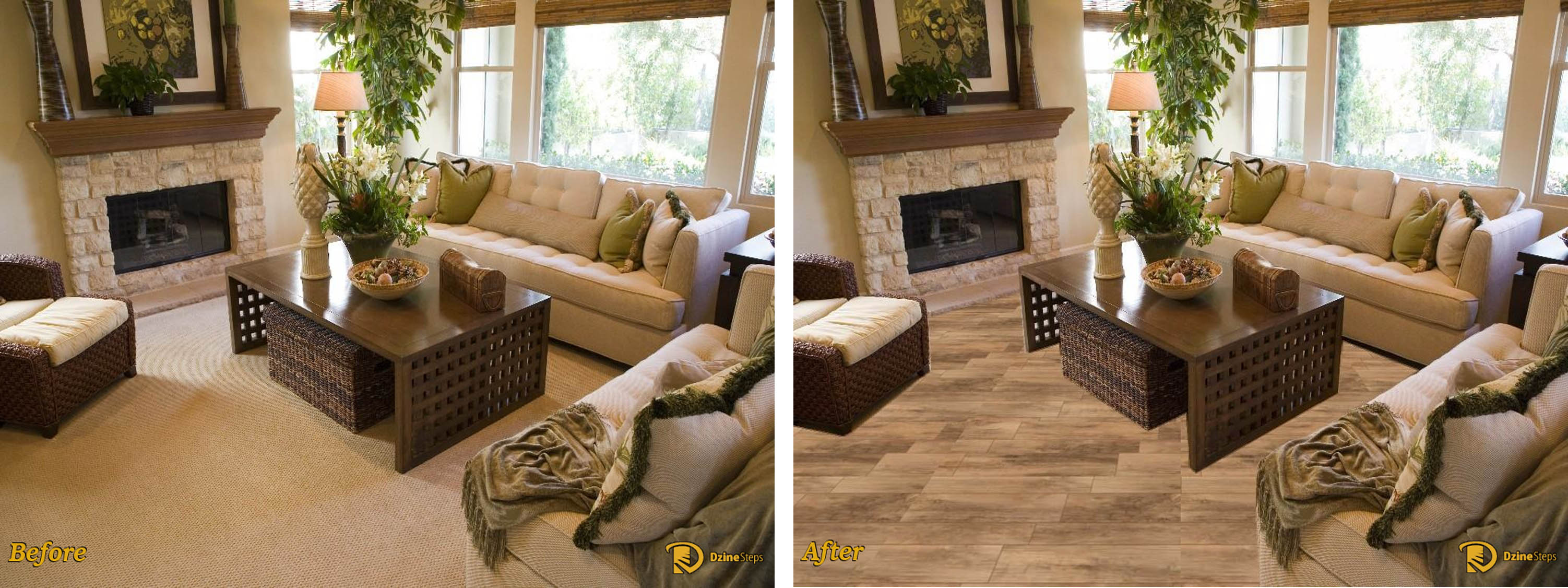 dzine application of porcelain wood look tile - Wood Tile Floor Living Room