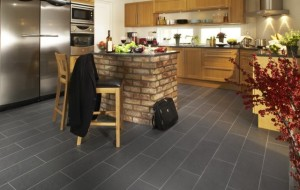 Modern Grey Slate Tile Flooring. Image courtesy of Houzz.com.