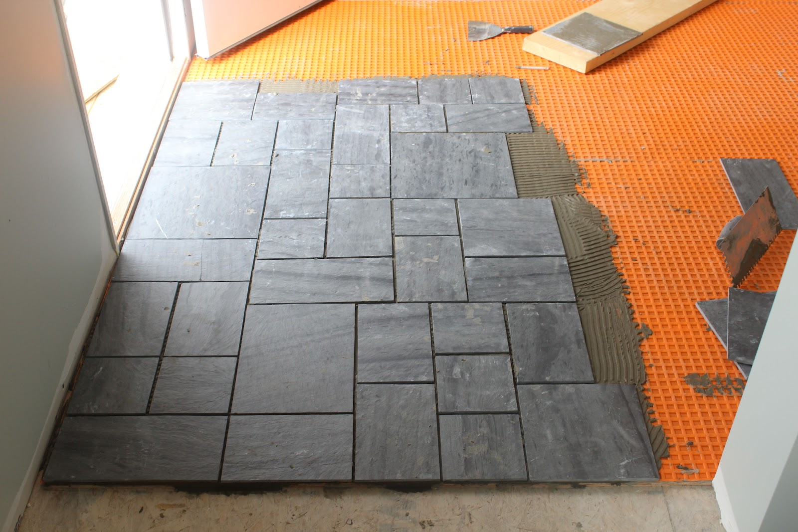 Slate natural beauty with every step dzine talk Ceramic tile flooring installation