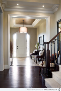 Foyer with simple, yet elegant, design elements. Photo courtesy of homedesignlover.com.
