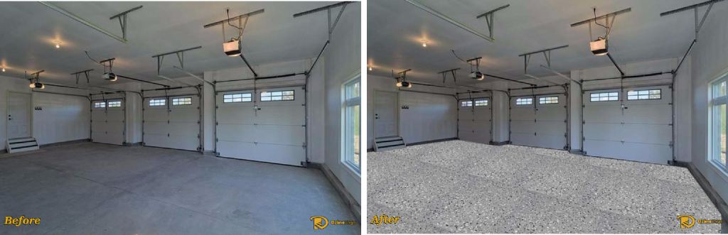 A three car garage Dzine using a speckled grey epoxy coating. Original image courtesy of photolabels.co.