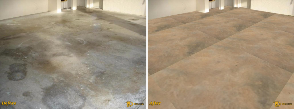 Garage floor Dzine using a marbled epoxy coating. Original image courtesy of 3cconcrete.com.