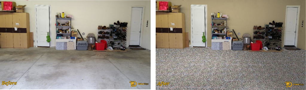 Garage interior before and after Dzine.