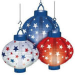 Red, White, and Blue paper lanterns. Photo courtesy of decormedly.com.